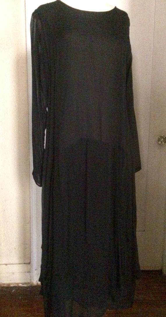 Vintage LEW MAGRAM Black Sheer Dropwaist Long Dre… - image 2