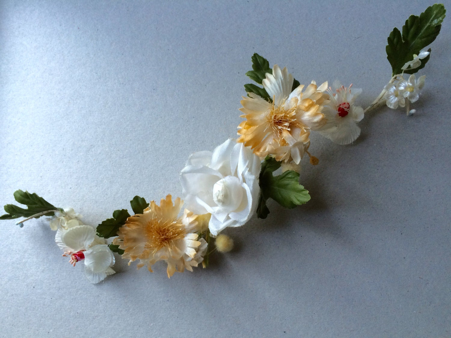 Vintage 30s Silk Crepe Flowers S Shaped Band Millinery Etsy