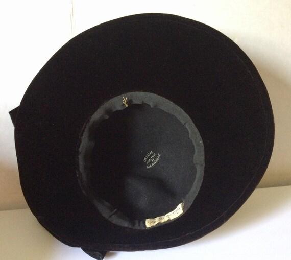 Vintage 30's-40's Black Felt Hat, Wide Brim, Larg… - image 9
