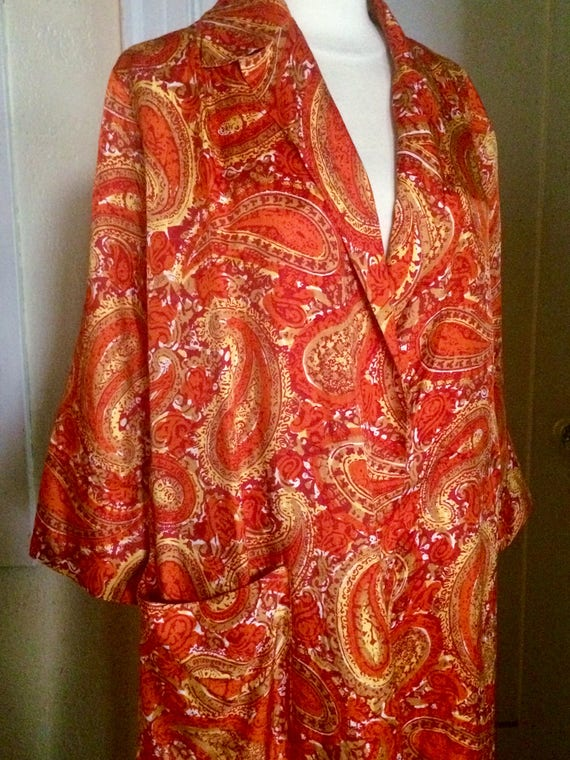 Vintage 40's Paisley Rayon Robe, Long, Size Large