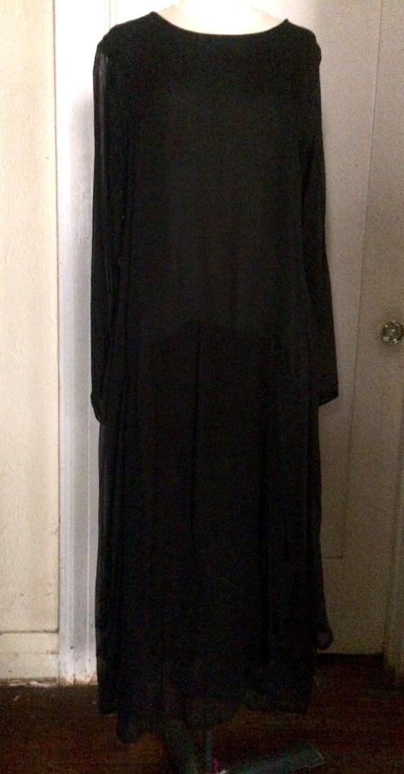 Vintage LEW MAGRAM Black Sheer Dropwaist Long Dres
