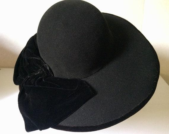 Vintage 30's-40's Black Felt Hat, Wide Brim, Larg… - image 6