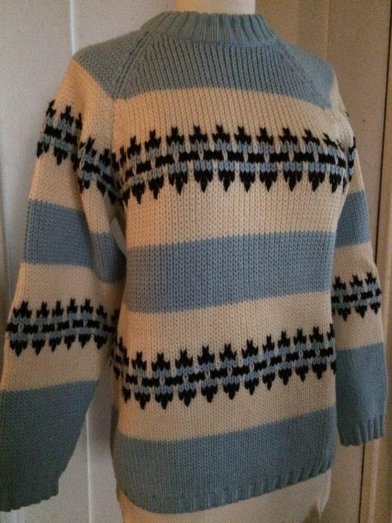 Design Sweater Ski Size Blue Black Pale White Crew Made Hand Vintage Neck Knit Medium Classic with Cotton wHqwp6E