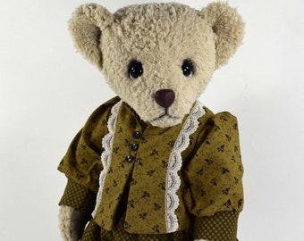 Jill – Handmade Dressed Teddy Bear, Artist Bear, Stuffed Animal, Cuddle Fabric, Toy, OOAK, Made In Alaska