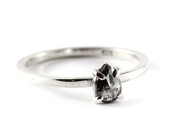 0567b514041 Engagement Ring Diamond Ring Diamond Engagement Black Diamond Ring Grey Diamond  Ring Sterling Silver Ring Black Teardrop Diamond Teardrop