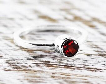 Garnet Ring Engagement Ring January Birthstone Gemstone Ring Garnet Jewelry Birthstone Ring Sterling Silver Ring Garnet Red Garnet Ring