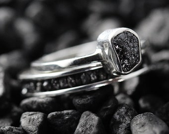 Wedding Ring Engagement Ring Black Diamond Ring Wedding Band Wedding Ring Diamond Ring Sterling Silver Ring Engagement Rings