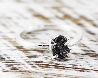 Black Diamond Ring Diamond Ring Sterling Silver Engagement Ring Wedding Ring Diamond Delicate Ring Unique Engagement Rough Diamond Ring