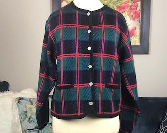 Vintage plaid sweater cardigan