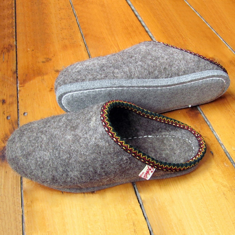 Traditional Hand Felted Woollen Slippers All Natural Thermal image 0