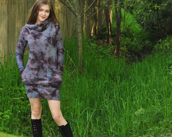 Oracle Hoodie Dress - Hand dyed Bamboo Dress - Organic Stretchy Bamboo - Festival Clothing - Brown and Neutral Tones