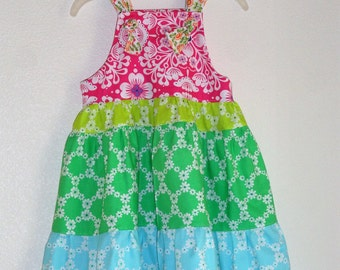 Flower Girls Dress Summer Rainbow Sherbert Dress Tiered Summer Sundress Dress Size 5