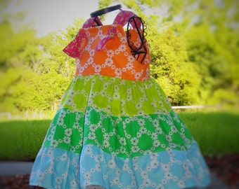 Flower Girls Dress Summer Rainbow Sherbert Dress Tiered Summer Sundress Dress 2 3 4 5 6 7 8 10