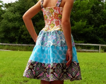 Girls Fall Twirl Knot Dress Summer School Dress 2 3 4 5 6 7 8 10 12