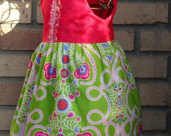 Girls Cotton Dress Floral Photography Dress  Boutique Pink and Green Dress Ready to Ship size 2
