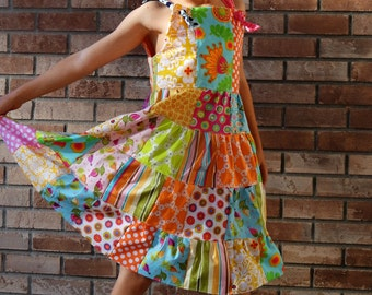Teen Girls Patchwork Dress Bojo Dress Patchwork Doll Costume Dress Tween Dress Size 10 12 14 16