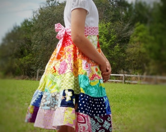 Girls Rainbow Dress Patchwork 6 tiered Twirl Dress 2 3 4 5 6 7 8 9 10 12 14 16