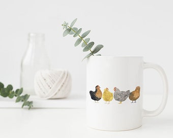 Chickens Mug / Ceramic Mug  / Farm Mug / Farmhouse Gifts / Gifts for Her / Backyard Chickens / Farmhouse Mug / Homestead Gifts / Urban Farm