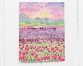 Birthday Card / Tulips Birthday Card / Greeting Card / Watercolor Card / Happy Birthday / Floral Birthday Card / Tulip Birthday