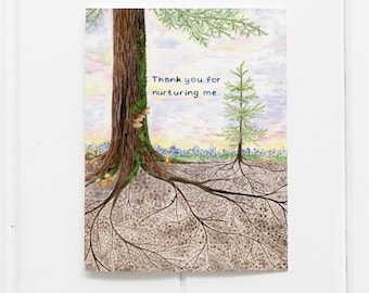 Parenting Card / Mother's Day Card / Father's Day Card / Caregiver Card / Mom Card / Dad Card / Gender Neutral Parent Card / Tree Roots Card