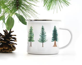Evergreen Camp Mug / Camp Mug / Oregon Mug / Evergreen Tree Mug / Pacific Northwest Mug / Camping Mug / Oregon Gifts / Camp / Cast Iron Mug