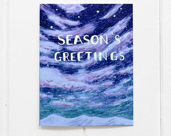 Seasons Greetings Holiday Card / Christmas Card / Winter Card / Silver Foil / Snow Holiday Card / Snowy Sky / Watercolor Card / Watercolor