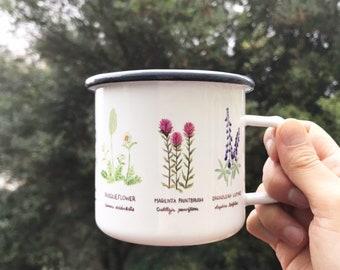 Wildflowers Camp Mug / Camp Mug / Oregon Mug / Northwest Flowers Mug / Pacific Northwest Mug / Camping Mug / Wildflowers Mug / Steel Mug