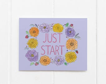 Just Start Card / Encouragement / Affirmation Card / New Year Card / New Years Resolution / Watercolor Card / Greeting Card / Playing Big