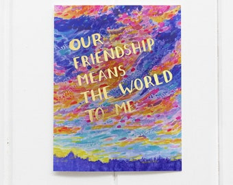 Friendship Card / Best Friend Card / Sunrise Card / Gold Foil / Galentines Day Card / Rainbow Sky / Watercolor Card / Watercolor