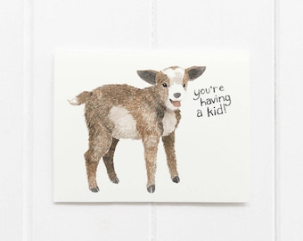 Goat Baby Card, Baby Shower Card, Pregnancy Card, Baby Goat Card, You're Having a Kid Card, Funny Baby Card, Goat Card, Baby Goats