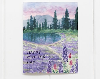 Happy Mother's Day Card / Mom Card / Greeting Card / Hiking Card / Mother's Day Card / Mother's Day / Wildflower Card / Pacific Northwest