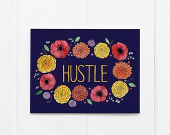 Hustle Card / Encouragement / Affirmation Card / Girl Boss Card / Creative Entrepreneur / Watercolor Card / Greeting Card / Playing Big Card