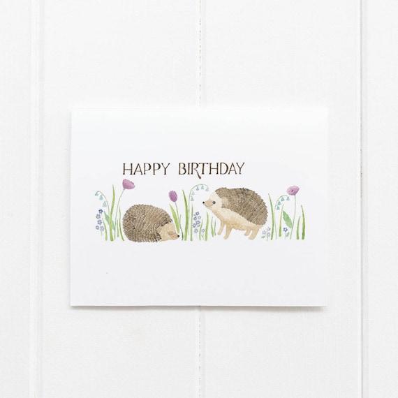 Hedgehogs Birthday Card Birthday Card Girls Birthday Card Etsy