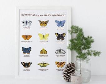 Butterflies of the Pacific Northwest Art Print / Washington State Art / Butterfly Art / Pacific Northwest Art / Gifts for Her / Butterflies