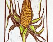 Harvest Corn - Linocut Print