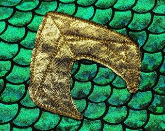 Aquaman logo machine embroidery raw edge applique digital file
