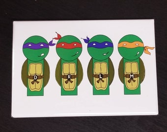 Teenage Mutant Ninja Turtles TMNT kokeshi style refrigerator magnet peg doll illustration fan art