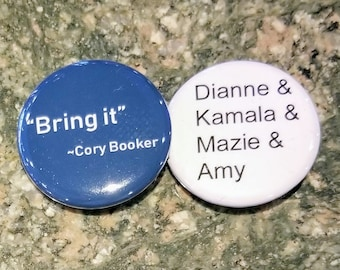 "Cory Booker & women of the judiciary  set of 2 1.25"" pinback button donation to RAINN"