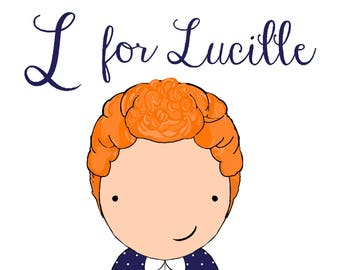 L for Lucille  5x7 art print women heroes ABC