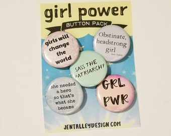 "Girl Power set of 5 pinback buttons 1.25"" feminism feminist"