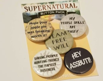 Supernatural set of 5 pinback buttons 1.25""