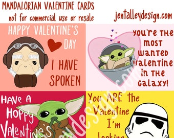 The Child Mandalorian printable digital download school Valentine cards