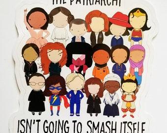 Smash the Patriarchy original pop culture art vinyl sticker