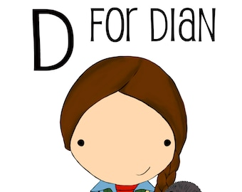 D for Dian 5x7 art print women heroes ABC