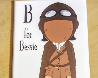 B is for Bessie refrigerator magnet women alphabet pilot