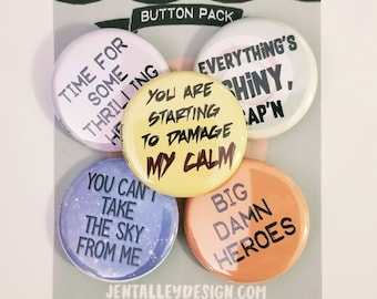 "Firefly set of 5 1.25"" pinback buttons"