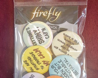 Firefly-inspired set of 6 pinback buttons 1.25""