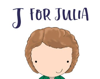 J for Julia 5x7 art print women heroes ABC