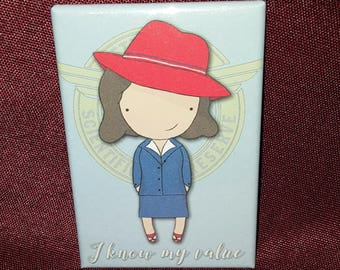 "Agent Carter ""I know my value"" cute chibi refrigerator magnet quote"