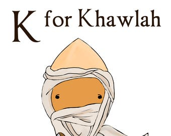 K for Khawlah 5x7 art print women heroes ABC
